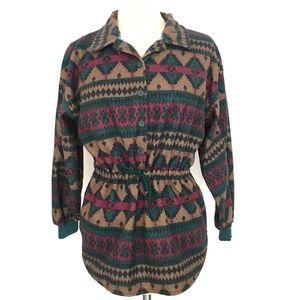 Vintage Fleece Henley Cinch Waist Aztec Southwest